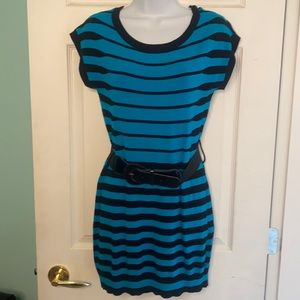 Le Chateau Turquoise Black Long striped shortsleeved Sweater